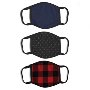 ABG Accessories 3-Pack Adult Fashionable Germ Protection - Best Masks for Teachers: Stretchable Earloops Mask