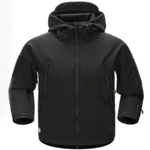 AIKOSHA Soft Shell Tactical Hoodie Fleece Jacket - Best Raincoats for Cold Weather: Roll-up hood with a brim