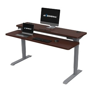 AITERMINAL Electric Stand Up Desk - Best Electric Standing Desk Under 500: 2-Tier Design Standing Desk