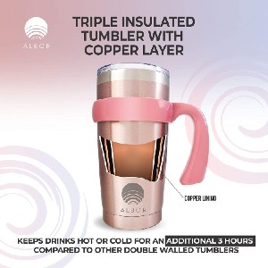ALBOR Triple Insulated Stainless Steel Tumbler  - Best Tumbler for Iced Coffee: Removable handle for easy carry