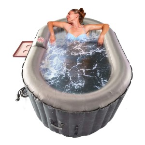 ALEKO Oval Inflatable Hot Tub Spa with Drink Tray and Cover - Best Two-Person Hot Tubs: Hot Tub with A Digital Control Panel