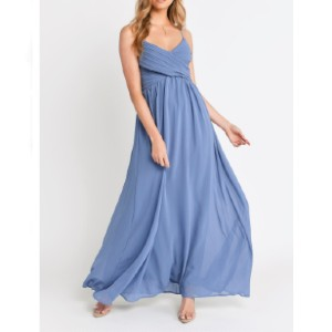 Tobi ALL ABOUT TONIGHT SLATE MAXI DRESS - Best Dresses for Small Chest: Back Invisible Zipper