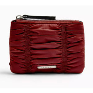 ALLY Burgundy Ruched Zip Top Purse - Best Wallet for Women: Wallet with '90s model