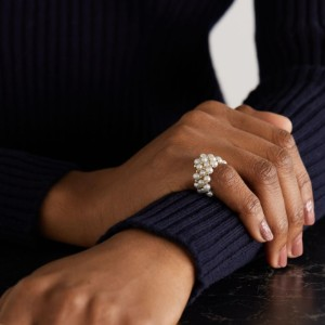 ANISSA KERMICHE Impromptu gold pearl ring - Best Rings for Fat Fingers: Luxurious Pearl Ring