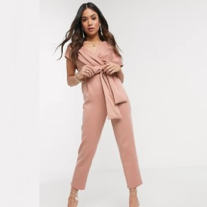 ASOS DESIGN Petite fallen shoulder scuba jumpsuit in blush - Best Jumpsuits for Petites: Specifically designed for petite
