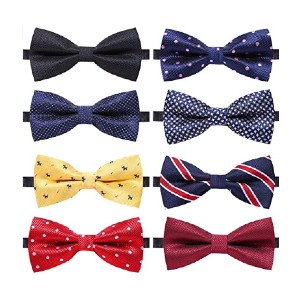 AUSKY Elegant Adjustable Pre-tied Bow Ties - Best Bow Ties on Amazon: You'll get eight!
