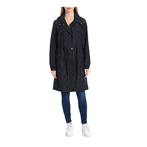 AVEC LES FILLES Star Jacquard Raincoat - Best Raincoats for College Students: Removable Hood and Adjustable Toggle