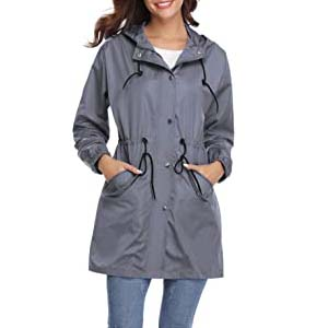 Abollria Womens Outdoor Raincoat - Best Raincoats with a Suit: Super lightweight and trendy
