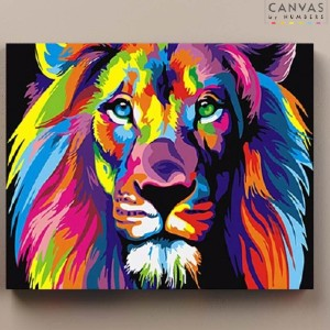 Canvas by Numbers Abstract Lion Portrait - Best Paint by Number Kits for Beginners: Great Simba, The King of The Jungle