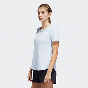 ADIDAS TRAINING 3-STRIPES T-SHIRT HEAT.RDY - Best Women's Running Shirts: Shirt with 3-stripes on the back design