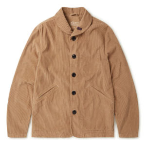 Albam Utility Traders Corduroy Jacket in Sand - Best Jacket for Summer: Jacket with classic shawl collar design