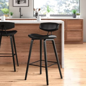 All Modern Ayanna Bar & Counter Stool - Best Bar Stools for Kitchen Island: Minimalist in Black and White Bar Stool