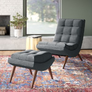 All Modern Carrion Lounge Chair with Ottoman - Best Lounge Chair for Back Pain: Modern Lounge Chair