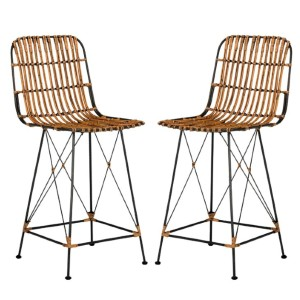 All Modern Silva Bar + Counter Stool - Best Bar Stools with Backs: Rattan Wicker Seat