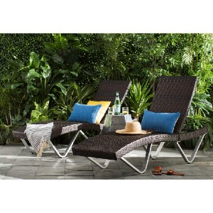 All Modern Leyt Reclining Chaise Lounge (Set of 2) - Best Poolside Chaise Lounge: Curved Design Outdoor Chaise Lounge