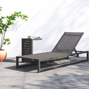 All Modern Douglas Reclining Chaise Lounge with Table - Best Poolside Chaise Lounge: Water-Resistant Outdoor Chaise Lounge