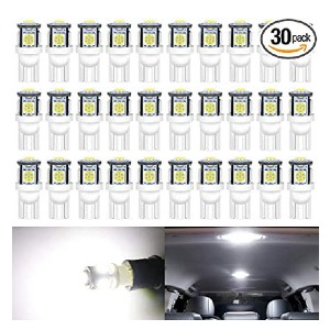Alopee 30-Pack White LED Replacement Bulbs - Best LED Interior Lights for Cars: Fits most cars