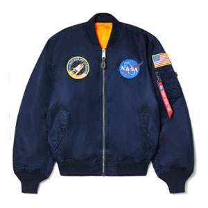 Alpha Industries Men's NASA MA-1 Bomber Flight Jacket - Best Jacket for Summer: Unisex bomber jacket with NASA and American flag patch
