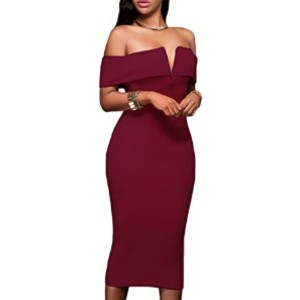 AlvaQ Women's Sexy V Neck Off The Shoulder Dress - Best Party Dresses for Teenage Girl: Curve-hugging fit