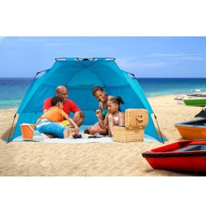 Alvantor Super Bluecoast Beach Tent - Best Beach Tents for Wind: Tent with Automatic Open Feature
