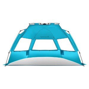 Alvantor Super Bluecoast Beach Tent - Best Beach Tents for Family: Tent with Automatic Open Feature