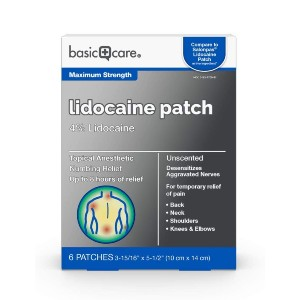 Basic Care Lidocaine Patch - Best Lidocaine Patches: Unscented Pain Patches