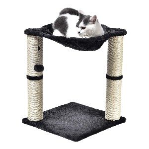 Amazon Basics Cat Condo Tree Tower with Hammock Bed and Scratching Post - Best Cat Toys for Home Alone: Relaxing Hammock