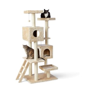 Amazon Basics  Multi-Level Cat Tree with Scratching Posts - Best Cat Tree for Multiple Cats: Cat Tree with Natural Jute Fiber