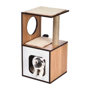 Amazon Basics Wooden Cat Furniture with Scratching Posts - Best Cat Tree for Senior Cats: Contemporary Design Cat Tree