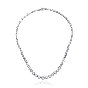 Amazon Collection Platinum-Plated Sterling Silver Swarovski Zirconia Round - Best Necklace for Girlfriend: Long-Lasting Platinum-Plated Necklace