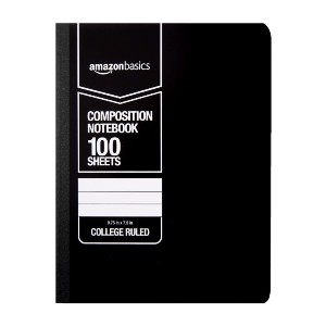 AmazonBasics College Ruled Composition Notebook - Best Notebooks for College: Sturdy Front and Back Covers for Good Gripping