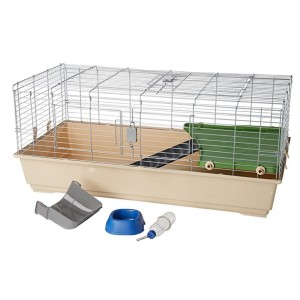 AmazonBasics Small Animal Cage Habitat With Accessories  - Best Cage for Guinea Pigs: Hideaway space under balcony