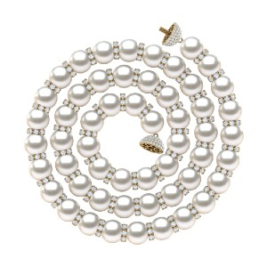 American Pearl Diamond & White Pearl Rondel Necklace - Best Pearl Necklace: Majestic Combination Necklace