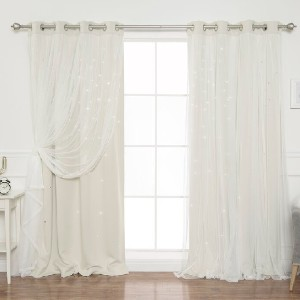 Andover Mills™ Baby & Kids Efird Tulle Overlay Star Cut Out Solid Blackout Thermal Grommet Curtain Panels (Set of 2) - Best Curtains for Living Room: Overlay Star Cut Curtain