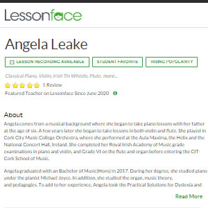 Lesson Face Angela Leake - Best Online Tin Whistle Lessons: Personal Touch and Adjustable Curriculum