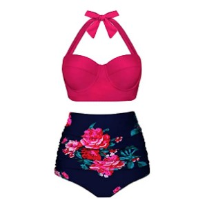 Angerella Women Vintage Polka Dot High Waisted Bathing Suits - Best Swimwear for Large Busts: Shows off your curve beautifully