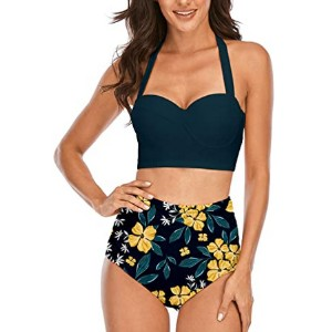 Angerella Women Vintage Polka Dot High Waisted Bathing Suits - Best Swimsuits for Moms: Shows off your curve beautifully
