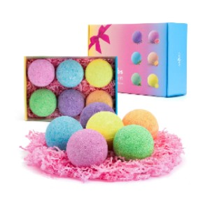 Anjou Fizzies Spa Gift Set Pure Natural Essential Oils - Best Bath Bombs on Amazon: Brightly Colored, but Won't Stain Your Tub