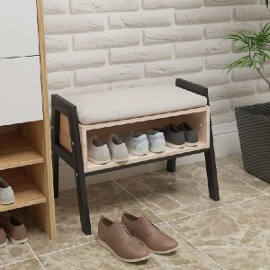 Ansley & HosHo Stackable Entryway Shoes Bench  - Best Entryway Benches: Cushion Bench with Shoes Rack