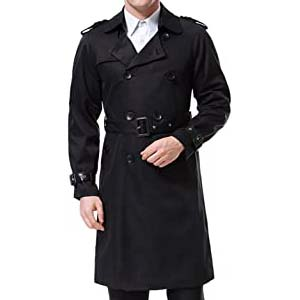 AOWOFS Men's Double Breasted Trenchcoat - Best Raincoats with a Suit: Classy with (or without) belt