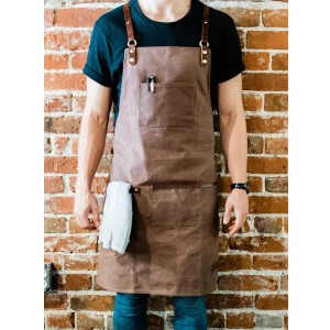 AppronMen Premium Waxed Canvas Barista Apron - Best Grilling Aprons: Apron with Cross Back-Straps