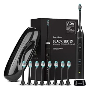 AquaSonic Black Series Ultra Whitening Toothbrush - Best Toothbrush for Yellow Teeth: Complete package