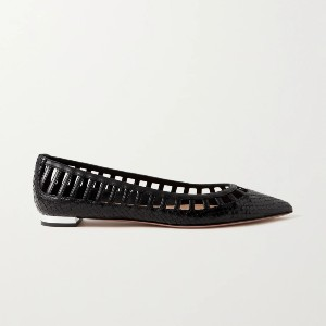 Aquazzura Le Parisien Ballet snake-effect and smooth leather point-toe flats - Best Dressy Flats: Classy Flats