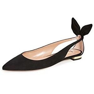 Aquazzura Bow Tie Ballet Flats - Best Flats for Work: Chic Flat with Sling-Back Strap