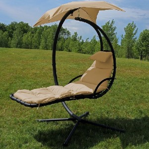 Arlmont & Co. Haskins Hanging Chaise Lounger with Stand - Best Outdoor Chaise Lounge: Moon-Shaped Chair