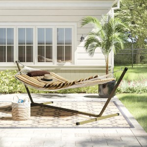 Arlmont & Co. Cambria Spreader Bar Hammock with Stand - Best Hammocks for Backyard: Durable Thick Rope Hammock