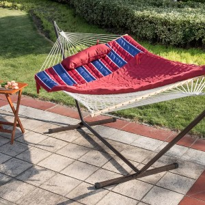 Arlmont & Co. Mitre Double Spreader Bar Hammock with Stand - Best 2-Person Hammock with Stand: Hammock with Cotton Rope