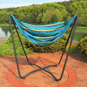 Arlmont & Co. Hagan Hanging Cotton Chair Hammock with Stand - Best Outdoor Hammocks Chair: Space-Saving Hanging Chair