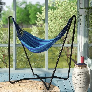 Arlmont & Co. Hagan Hanging Cotton Chair Hammock with Stand - Best Hammocks Chair for Heavy Person: Space-Saving Hanging Chair