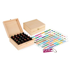 Aroma Designs Wooden Box with Labels - Best Storage for Essential Oils: Oil and water resistant stickers
